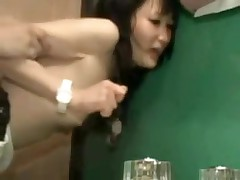 It is a tight fit in this bathroom, and a tight fit in her pussy.  But this couple manages to fuck in several different positions, and finally he leaves his hot cum inside her, a nice creampie for us to see.