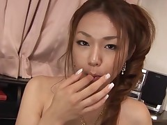 Busty Oriental cutie with unshaved pussy feels knob and pussy in gap